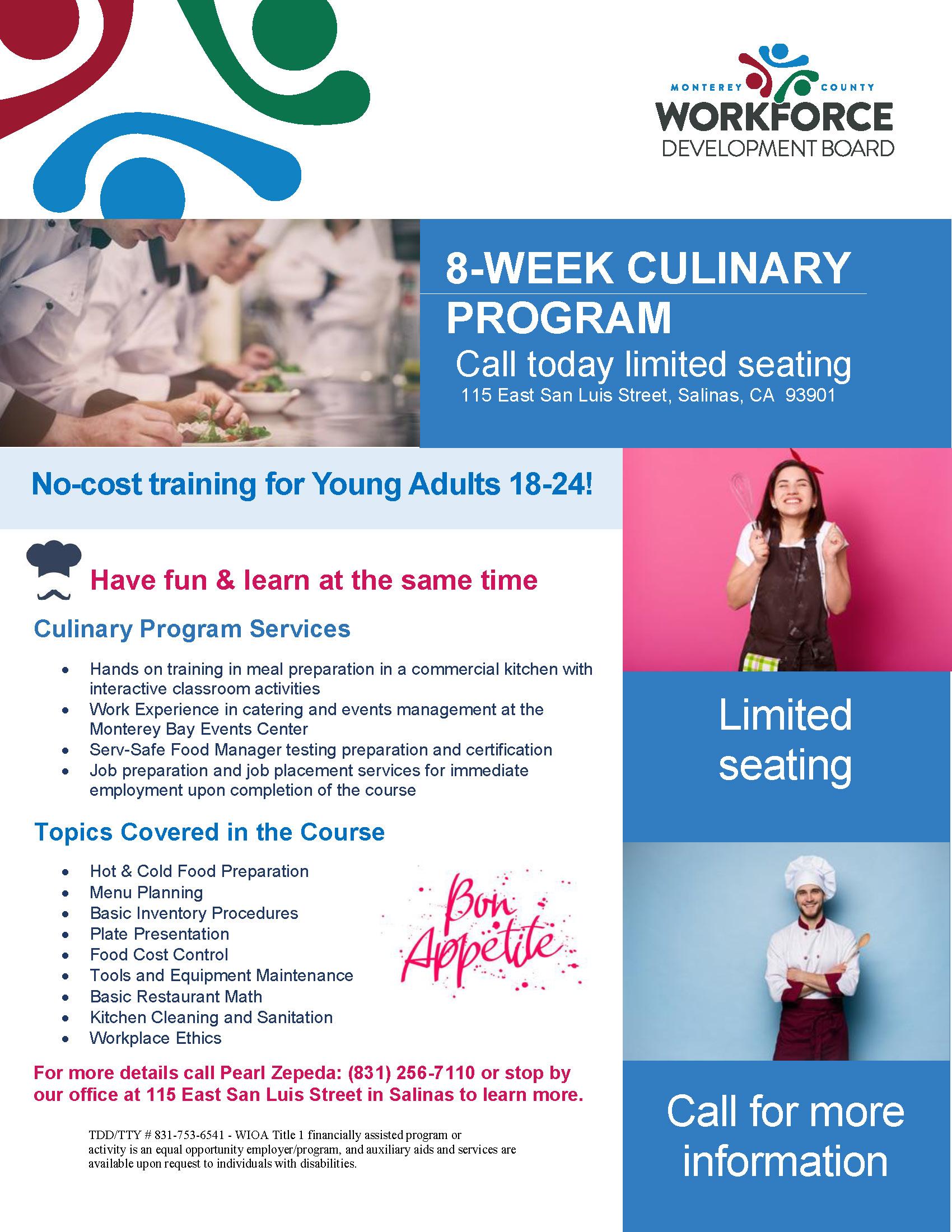 culinary training flyer