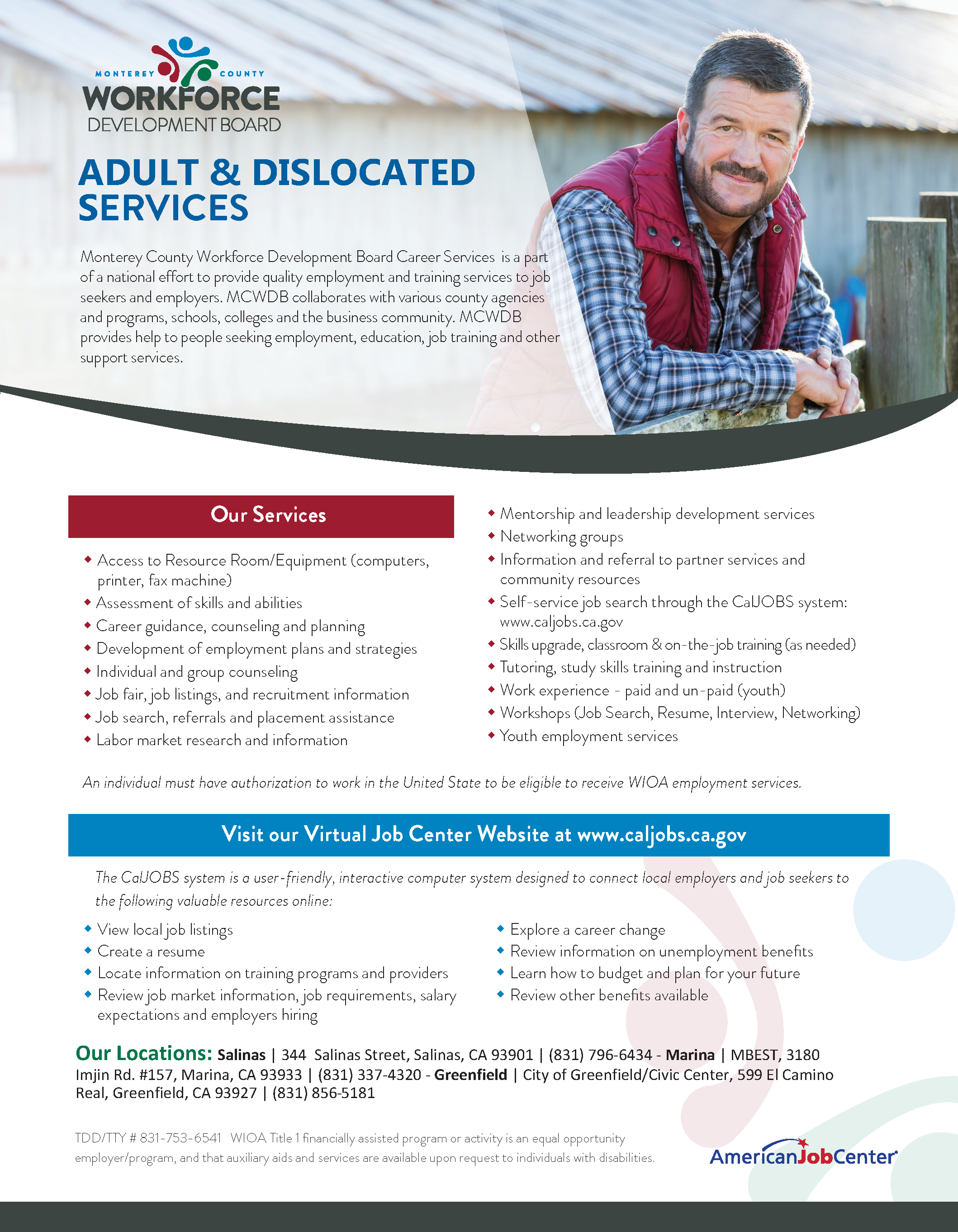 Adult and Dislocated Work Flyer